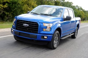 2015 Ford F-150 Sport Blue Crew Cab on Road